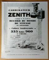 1928 Carburateur Zénith Record Du Monde De Vitesse D'après Jean A. Josse - Les Parfumeries De Gabilla - Publicité - Publicidad
