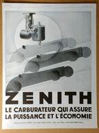 1928 Zénith Le Carburateur Qui Assure D'après G. Karquel - Les Verreries D'art Sabino (Art Déco) - Gévelot - Publicité - Publicidad
