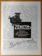 1933 Zénith équipe La Majorité Des Constructeur Européens (Carburateur) - Moteurs Deville - Frigéco - Publicité - Publicidad