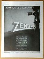 1934 Carburateur Zénith Champion De L'économie... (Pompe à Essence) - Machines Parlantes Thomson - Publicité - Publicidad