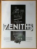 1934 Carburateur Zénith à Starter D'après E. Maurus - Chapeaux Fléchet Par Ternat - Publicité - Publicidad