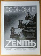 1935 Carburateur Zénith Le Ralenti-stop, L'autostarter... Dans Tous Les Garages.- Frigidaire (Réfrigérateur) - Publicité - Publicidad