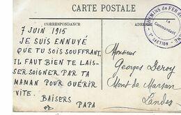 Chemins De Fer De Campagne-7 Eme Section-le Commandant Sur Cpa Calais L'avant Port - Marcophilie (Lettres)