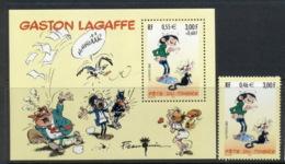 France 2001 Cartoons, Stamp Day, Gaston Lagaffe + MS - France