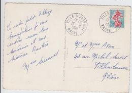 RHONE CP 1960 VILLE SUR JARNIOUX RECETTE DISTRIBUTION 441 HABITANTS EN 1962 - Marcofilie (Brieven)