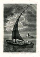 Antique Engraving 1874 Africa Nile Sailboat Sail Ship - Estampes & Gravures