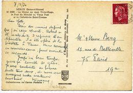 ROULETTE DU 0,40 CHEFFER SUR CP 1970   MEAUX 77 1970 - Marcofilie (Brieven)