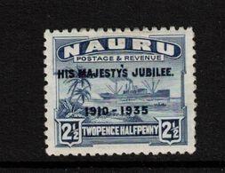 NAURU, 1935 2½d BLUE JUBILEE O/PRINT MH - Nauru