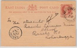 India - 1/4 A. Stationery Card W/priv. Printing, Calcutta - Ranchi 1892 - Postal Stationery