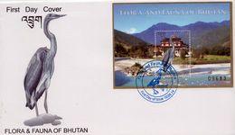 White-Bellied HERON Souvenir Sheet FDC 2014 BHUTAN - Pelikane