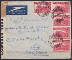 Congo Belge - L. Avion Affr. N°241x5 Càd LULUABOURG /13-9-1944 Pour LIEGE - Bande Censure Militaire UK (au Dos: Càd LEOP - Airmail: Covers