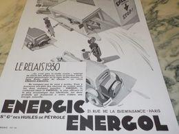 ANCIENNE  PUBLICITE LE RELAIS HUILE ENERGOL   1930 - Transportation