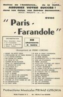 """""""Paris-Farandole"""" - Pot-pourri38 Chansons à Boire, Arrangement De Primo Gorchia - Música & Instrumentos"""