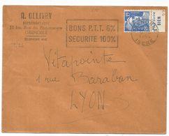 GANDON 15FR BLEU PUB POUR ECRIRE BIEN LETTRE GRENOBLE 1954 - 1945-54 Marianne De Gandon