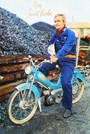MOBYLETTE (Bleue) BB PEUGEOT - Vive La Ste Barbe - Homme Mineur En Motocyclette France - Unclassified