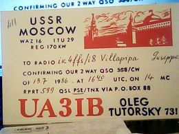 QSL CARD   RADIO AMATORIALE RUSSIA  CCCP MOSCOW USSR  V1986 HQ10086 - Radio Amateur