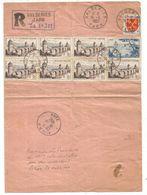 N°1039X7+1FR+10FR LETTRE REC PROVISOIRE VALDERIES TARN 16.11.1957 - Marcofilia (sobres)