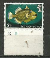 Solomon Islands - 1972 Fish $1  MNH ** With Margin - Salomon (Iles 1978-...)