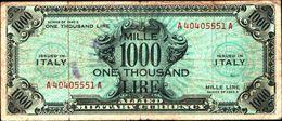 19827) BANCONOTA Da 1000 AM LIRE Occupazione Militare Alleata 1943 A Bilingue -banconota Non Trattata.vedi Foto - [ 3] Emissioni Militari