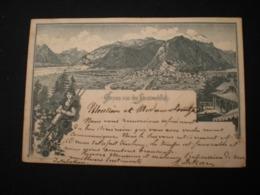 INTERLAKEN - GRUSS VON DEN HEIMWEHFLUH - LITHO 1890 - BE Berne
