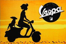"""Moto Scooter VESPA  """"Femme Avec Son Chien"""" - Publicité Constructeur Piaggio - Motorfietsen"""