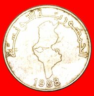 · MAP: TUNISIA ★ 1/2 DINAR 1988! LOW START ★ NO RESERVE! - Tunisia