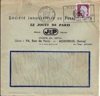"""93 . SEINE ST DENIS - MONTREUIL - TAD DE TYPE ENTETE """"LE JOUET DE PARIS"""" - 1960 - Postmark Collection (Covers)"""