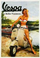 """Moto VESPA  """"PIN-UP Femme Italienne """" Les Belles Vacances !"""" - Publicité Constructeur Piaggio - Pin-Ups"""
