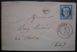 Tonnerre 1874 Gc 3971 (Yonne) Lettre Avec OR Pour Chesley (Aube) - 1849-1876: Classic Period