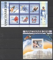 UC155 2010 UNION DES COMORES SPORT OLYMPIC GAMES 2010 VANCOUVER WINNERS 1KB+1BL MNH - Unclassified