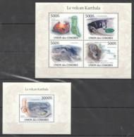 UC275 2010 UNION DES COMORES NATURE LE VOLCANO KARTHALA 1KB+1BL MNH - Volcans