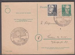1949. DDR. Postkarte 10 Pf. AUGUST BEBEL. + 2 Pf. NORDHAUSEN BRANDSCHUTZ IST VOLKSSCH... () - JF365284 - Postkarten - Gebraucht