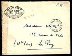 FRANCHISE MILITAIRE - CENSURE - OUVERT MC182 - PAR L'AUTORITÉ MILITAIRE - - Militärpostmarken