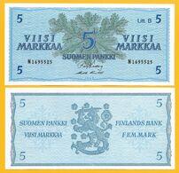 Finland 5 Markka P-99 1963 UNC Banknote - Finland