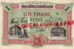 87-LIMOGES - BILLET CHAMBRE COMMERCE UN FRANC -PONT SAINT ETIENNE CATHEDRALE 1923 - Chambre De Commerce