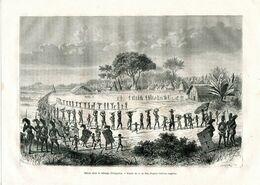 Antique Engraving 1874 Africa Moving To Isingerria Mbanga Cameroon Women Army - Estampes & Gravures