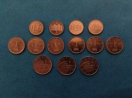 ITALY COINS LOTTO 13 MONETE ITALIA REPUBBLICA 1 2 5 CENT EURO VARI ANNI FDC UNC DA ROTOLINO ZECCA - Italie