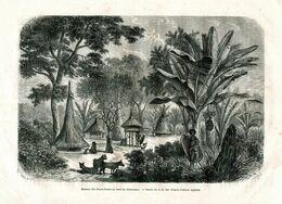 Antique Engraving 1874 Africa People Tribe Nyams-Nyams Dwelling Hut Guard Army Dog - Estampes & Gravures
