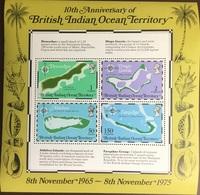 British Indian Ocean Territory BIOT 1975 Maps Minisheet MNH - Territoire Britannique De L'Océan Indien