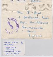 8 Base A.P.O., Type D, Coverpiece 2-VI-1945, Belgium / Brussels. Read. - 1902-1951 (Rois)