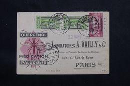 LIBAN - Carte Commerciale Médicale ( Paludisme ) De Djounieh Pour Paris En 1929, Affranchissement Surchargés   - L 65965 - Great Lebanon (1924-1945)