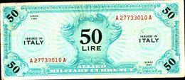 19933) BANCONOTA Da 50 AM LIRE Occupazione Militare Alleata 1943 A Monolingua -banconota Non Trattata.vedi Foto - [ 3] Emissioni Militari