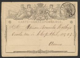 """EP Au Type 5ctm Gris """"carte-correspondance"""" Obl Double Cercle Brecht (1872) > Anvers. TB - Stamped Stationery"""
