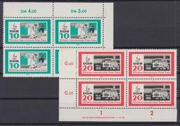 DDR 956 Eckrand Rechts Oben+ 957 Links Unten Mit DV 4er Block Rotes Kreuz ** - DDR