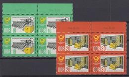 DDR 998-999 Mit Oberrand 4er Block Tag Der Briefmarke 10 Pf + 20 Pf Postfrisch - DDR