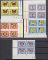 DDR 1004-1008 Verschiedene Eckränder Teils Mit DV 4er Block Schmetterlinge ** - [6] Democratic Republic