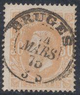 """émission 1869 - N°33 Obl Double Cercle (Dcb) """"Bruges"""" (1876). Superbe ! - 1869-1883 Leopoldo II"""