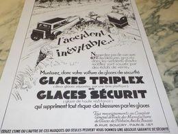 ANCIENNE PUBLICITE VOITURE MUNISSEZ VOUS DE GLACE TRIPLEX 1930 - Other