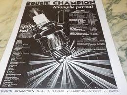 ANCIENNE PUBLICITE TRIOMPHE PARTOUT BOUGIE CHAMPION   1930 - Other