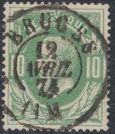"""émission 1869 - N°30 Obl Double Cercle """"Bruges"""" (1874). Superbe !  / Collection Spécialisée. - 1869-1883 Leopoldo II"""